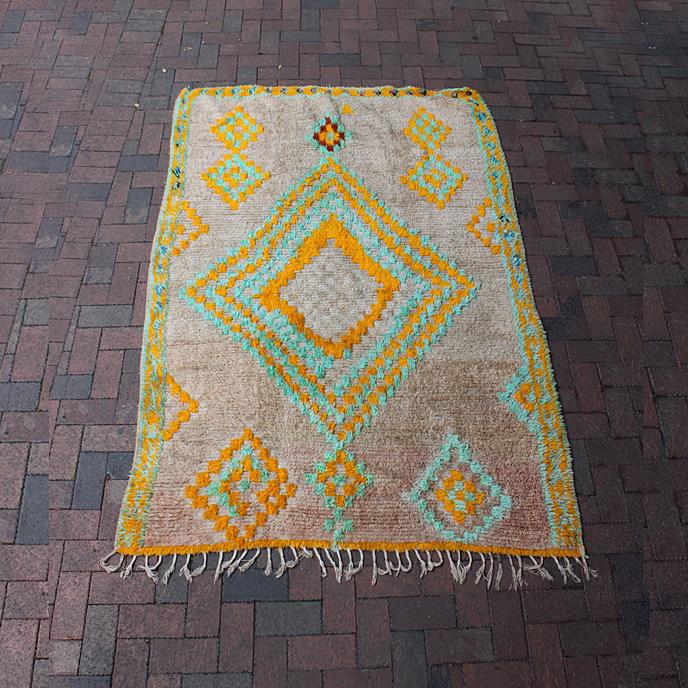 "Multi Colored Moroccan Rug - 4' 9"" x 7' 4"""