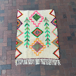 "Multi Colored Small Moroccan Rug - 3' 1"" x 4' 3"""