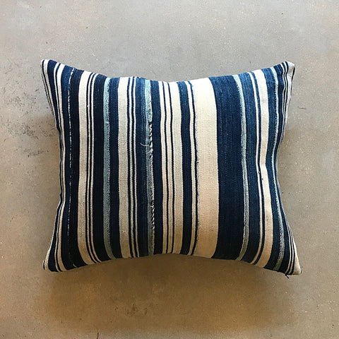 "Blue African Mud Cloth Pillow - 22"" x 17"""