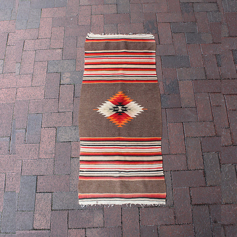 "Multi Colored Handwoven Wool Rug - 1' 8"" x 3' 10"""