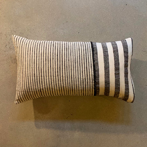 ".Cream + Black Stripe Pillow - 22"" x 13"""