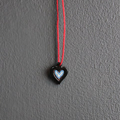 Black + Red Heart Beaded Necklace