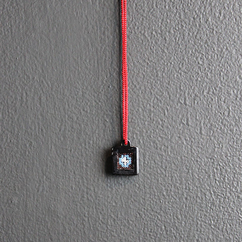 .Black + Red Square Beaded Necklace