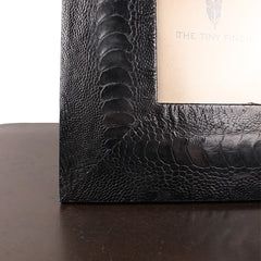 "Black Ostrich Shin Leather Frame - 4"" x 6"""