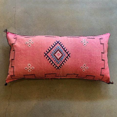 "Pink Moroccan Textile Pillow - 38"" x 20"""