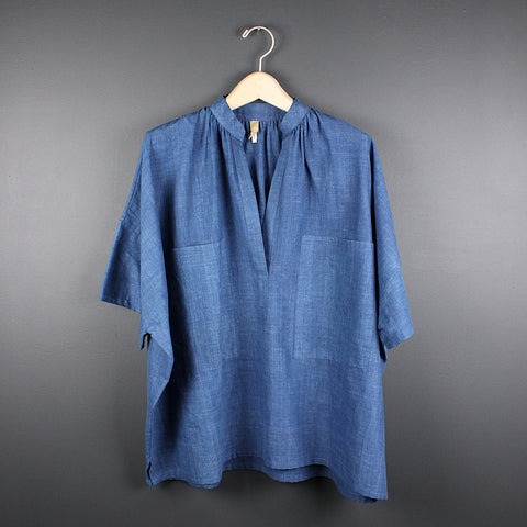 .Blue Khadi Shirt