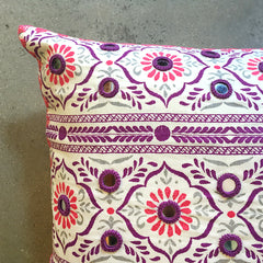 "Purple Hand-block Printed Bolster - 32"" x 17"""