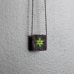 Purple + Green Hand-beaded Necklace