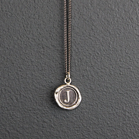 Silver Wax Stamped Necklace - Initial