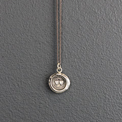 Silver Wax Stamped Necklace - Hearts