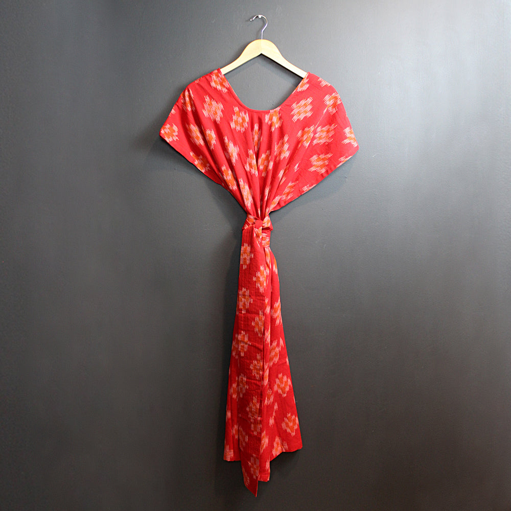 Red + Orange Hand Dyed Ikat Kaftan