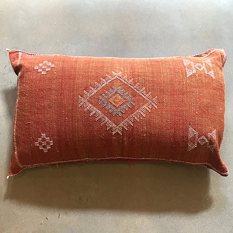 "Red Moroccan Textile Pillow - 38"" x 20"""