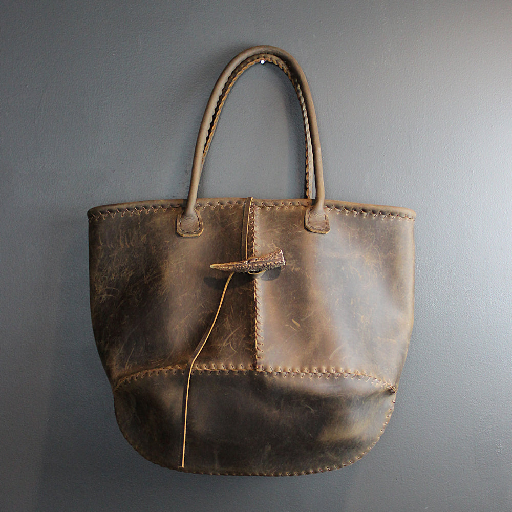 Brown Handmade Leather Bag with Deer Horn