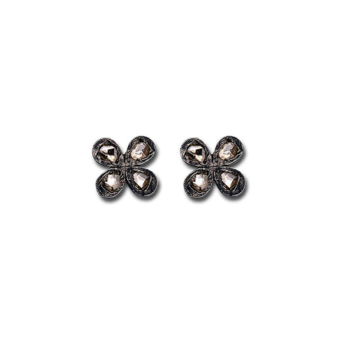 Black Rosa Four Petal Diamond Earrings