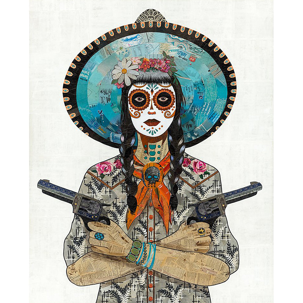 Multi Colored Print - Cowgirl with Roses