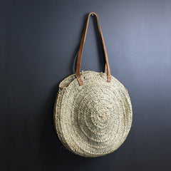 Neutral Round Palm Leaf Bag