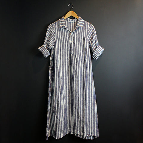 .Blue + White Stripe Linen Dress