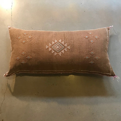 ".Brown Vintage Sabra Textile Pillow - 36"" x 18"""