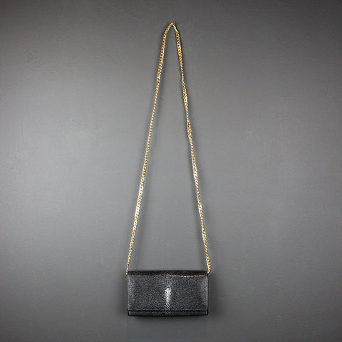 .Black Shagreen Bag