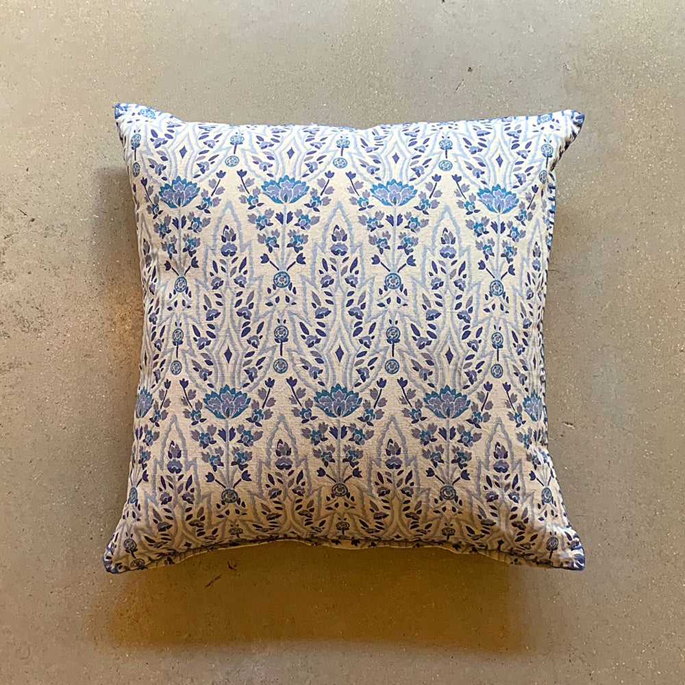 "Blue + Cream Hand Block Printed Shaw Pillow - 20"" x 20"""