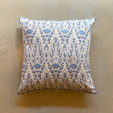 ".Blue + Cream Hand Block Printed Shaw Pillow - 20"" x 20"""