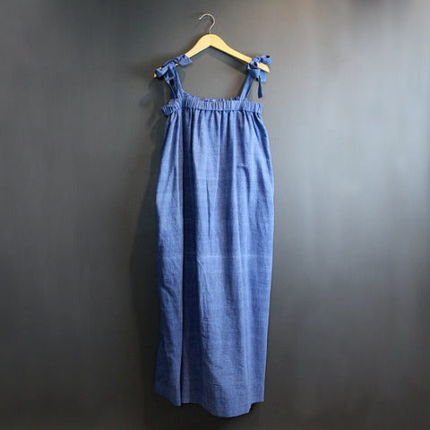 .Blue Shoulder Tie Dress
