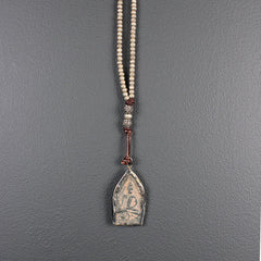 Thai Buddha Pendant Necklace with African Silver Beads