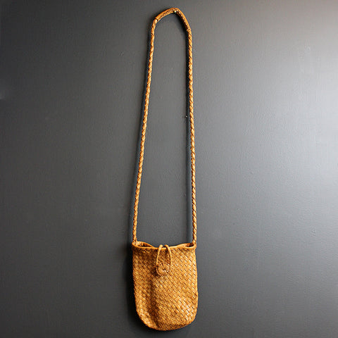 .Brown Handmade Leather Bag - Small