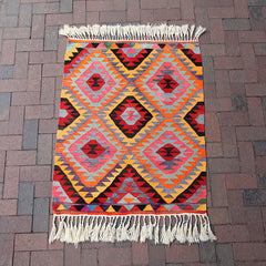 "Multi Colored Small Handwoven Turkish Rug - 38 1/2"" x 47"""