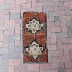 "Multi Colored Handwoven Small Turkish Rug - 1' 4"" x 2' 11"""
