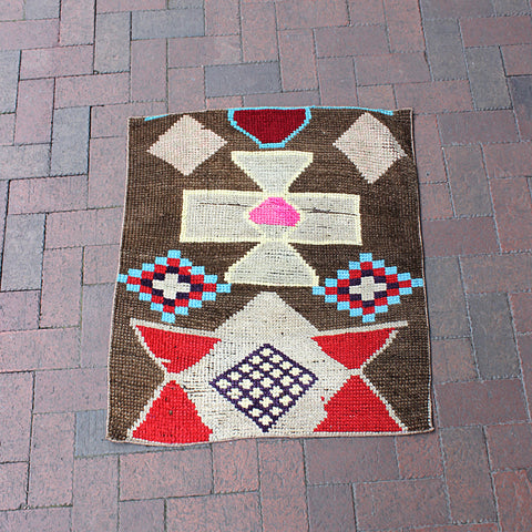 ".Multi Colored Handwoven Small Turkish Rug - 2' 5"" x 2' 10"""