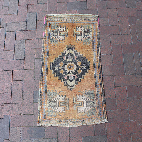 ".Multi Colored Handwoven Small Turkish Rug - 1' 10"" x 3' 6"""