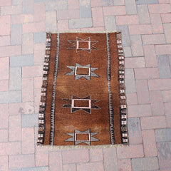 ".Multi Colored Handwoven Small Turkish Rug - 2' 1"" x 3' 1"""