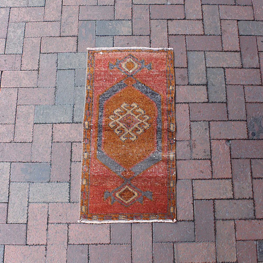 "Multi Colored Handwoven Small Turkish Rug - 1' 7"" x 3' 1"""