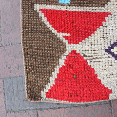 "Multi Colored Handwoven Small Turkish Rug - 2' 5"" x 2' 10"""