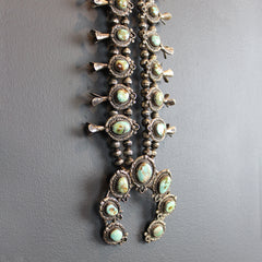 .Silver Vintage Squash Blossom Necklace