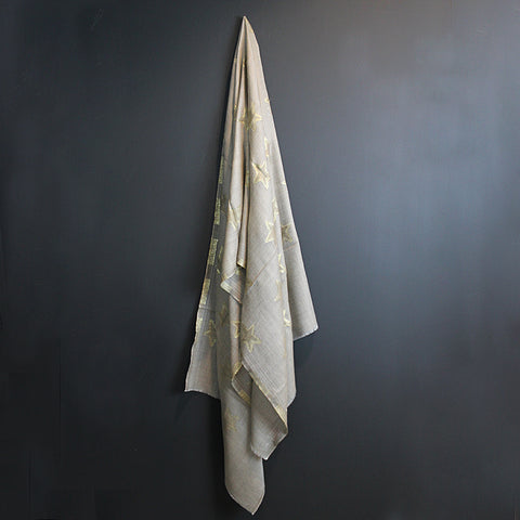 .Brown + Gold Star Cashmere Scarf
