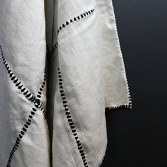 .Black + White Stitched Bed Throw