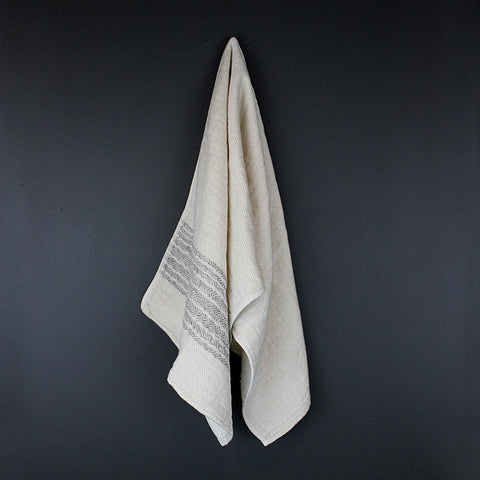 .Beige Striped Cotton Hand Towel