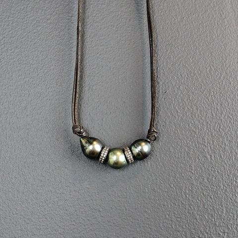 Three Strand Tahitian Pearl Necklace with Diamond Spacers