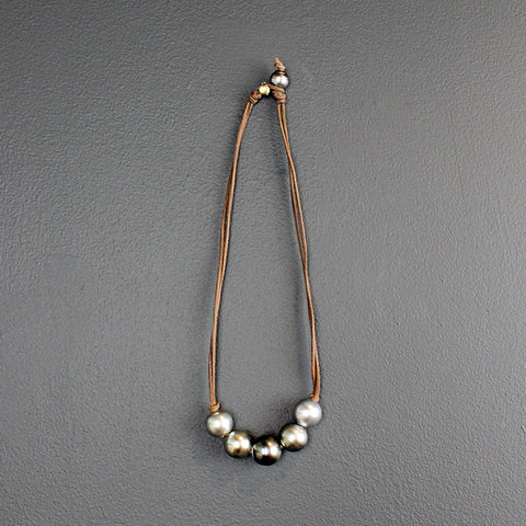 .Five Strand Tahitian Pearl Necklace