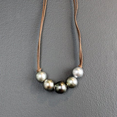 Grey Five Strand Tahitian Pearl Necklace