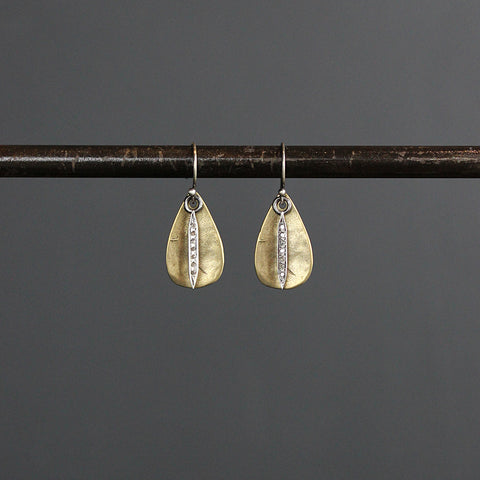 .Gold Brass + Diamond Teardrop Earrings