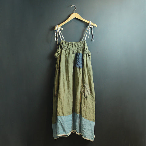 .Green + Blue Linen Dress