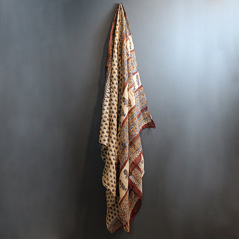 .Brown Handwoven Sari Textile