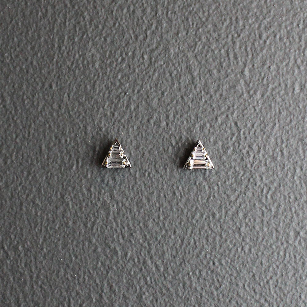 .White Topaz Triangle Earrings