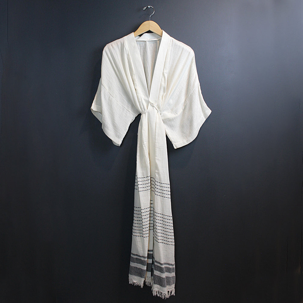 Cream + Black Cotton Caftan