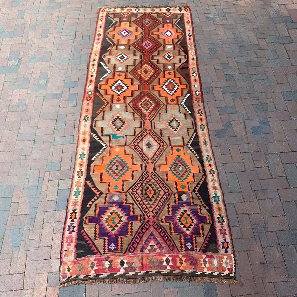 "Multi Colored Handwoven Turkish Rug - 4' 7.5"" x 12' 4"""