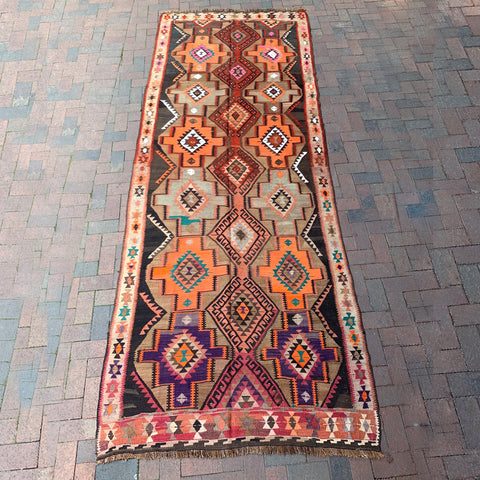 ".Multi Colored Handwoven Turkish Rug - 4' 7.5"" x 12' 4"""