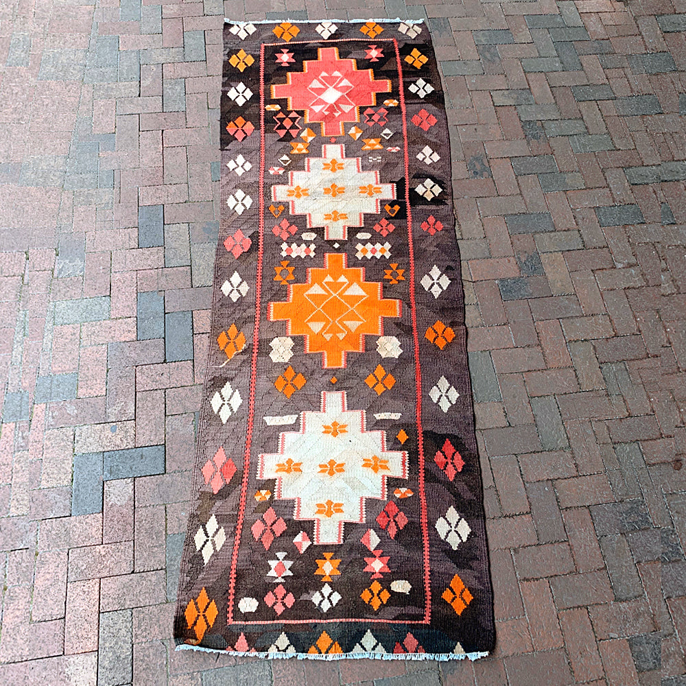 .Multi Colored Handwoven Turkish Runner - 9' x 3' 3""